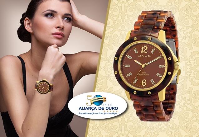 92a23f5b487 Presente perfeito para as festas de fim de ano! Relógio Lince Feminino  (Tortoise Collection