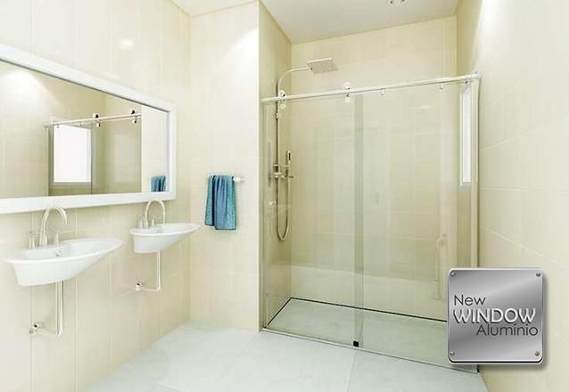 New Window  Box para Banheiro de vidro temperado incolor com modelo corrediç -> Cuba De Vidro Para Banheiro Porto Alegre