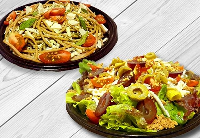 Saladas (com molho) OU Massa + Suco de Acerola