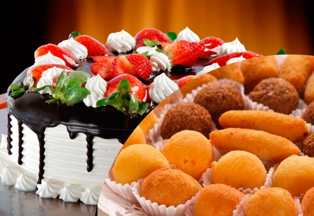 1 Torta Doce para 30 pessoas + 100 Salgadinhos + 1 Refri