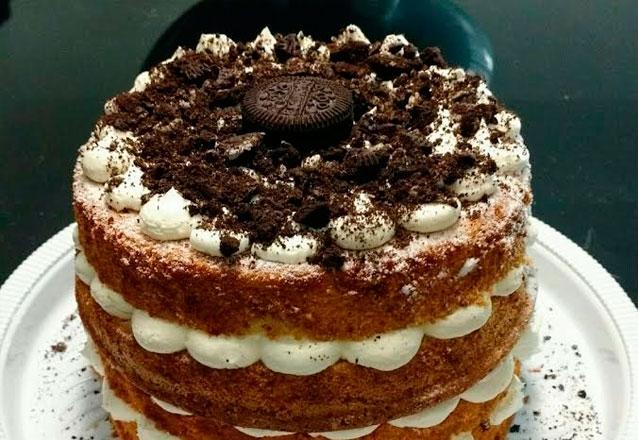 Torta Naked de Churros, Brownie ou Oreo