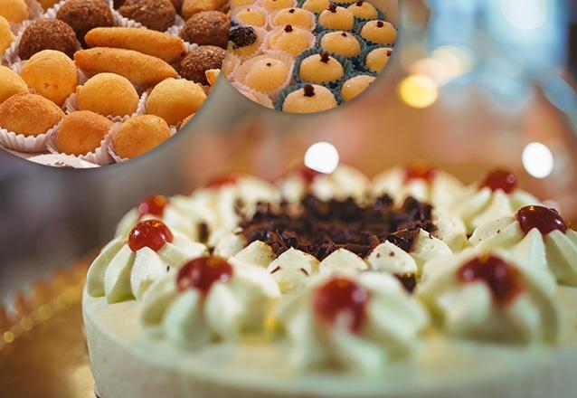 Torta Doce e Salgada + 400 Salgados + 100 Docinhos